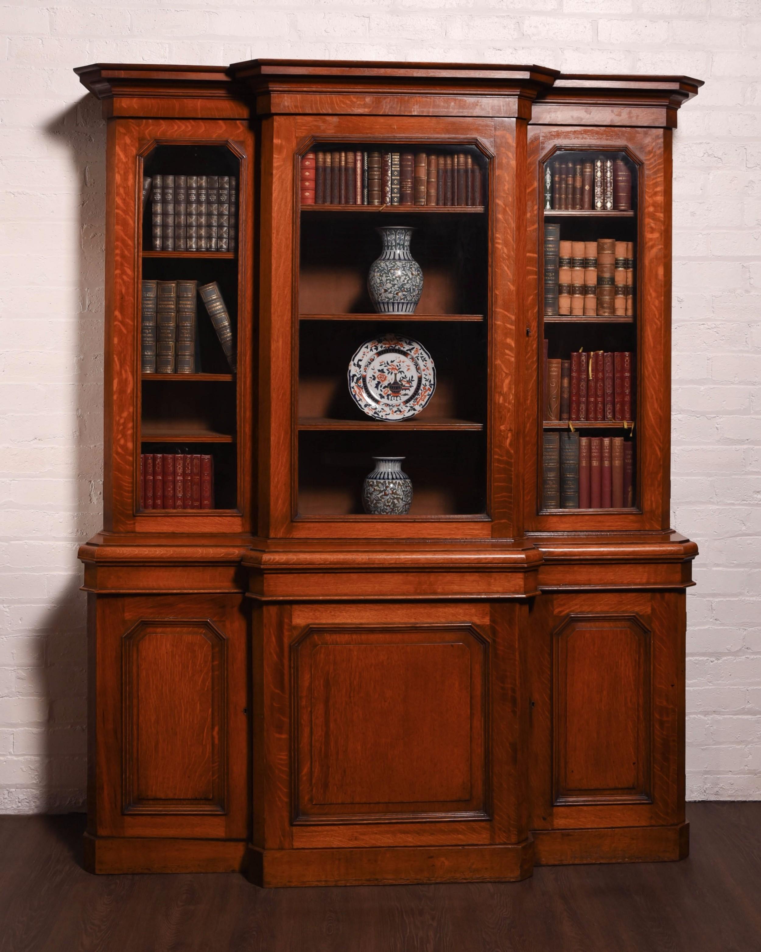 victorian 3 door breakfront library bookcase
