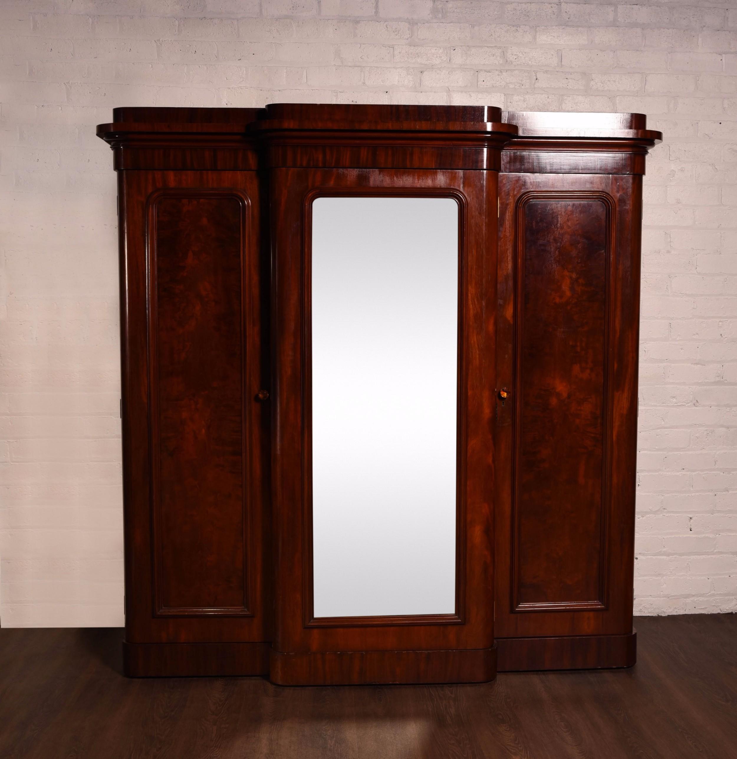 impressive victorian mirror door break front wardrobe
