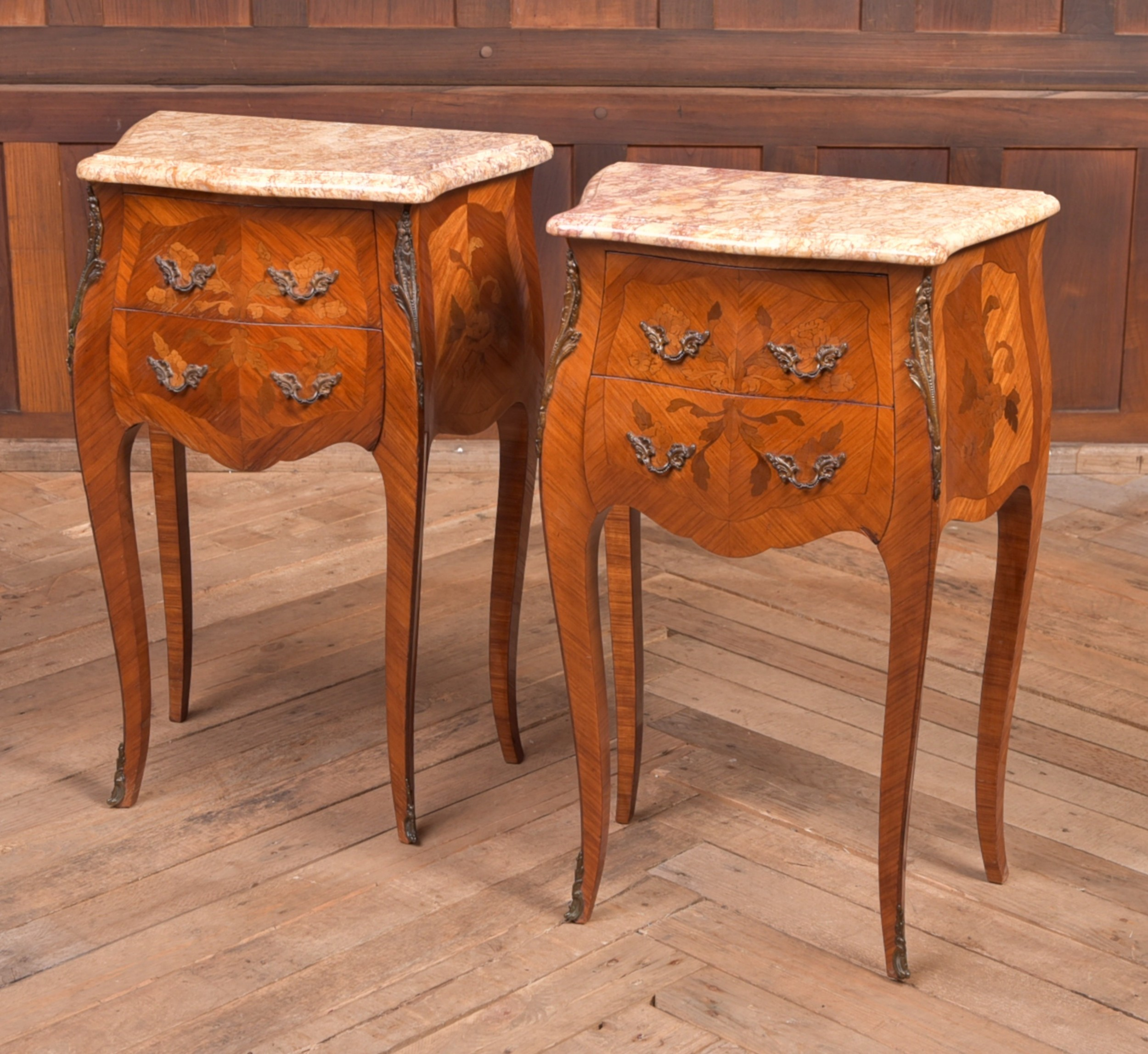 pair of edwardian french marble top bedside cabinets
