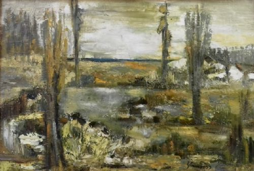 rugged landscape harsh climate nature and ecology french 1959 modernist oil on canvas exquisite provenance
