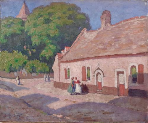 village life country scene 1915 nabis colourist french post impressionist oil on canvas