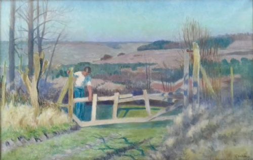 climbing over the farm gates rolling hills large landscape art deco period 1930s french oil on canvas
