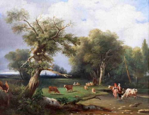 halcyon days shepherds and cowherds in an ideal landscape french oil on canvas