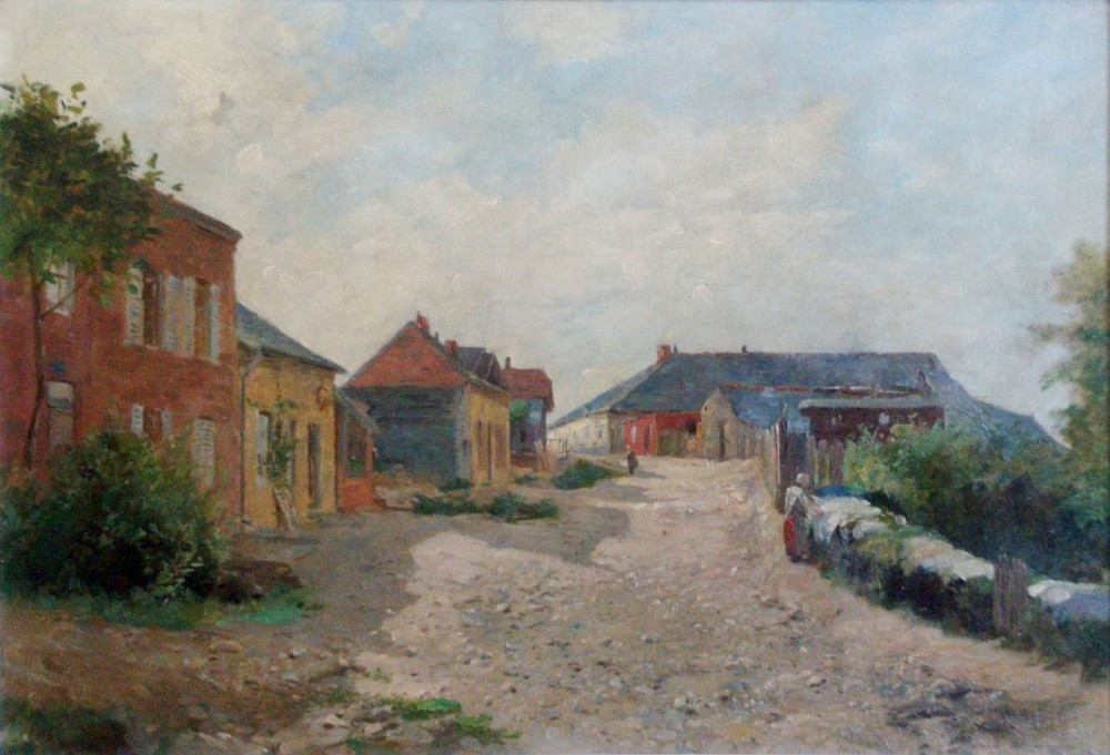 french country life village scene with washerwoman ardennes ca 1880 eugene damas 18441899 oil on canvas