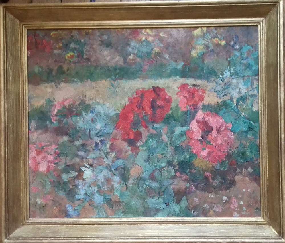 flower beds in bloom the garden c 1920 antique french impressionist oil on canvas