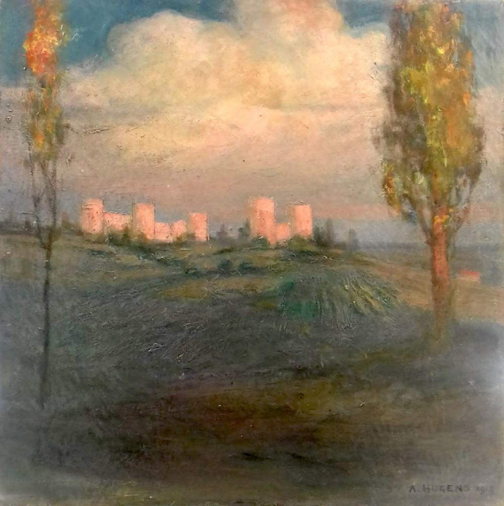 continental symbolist landscape 1915 the castle on the hill clouds evening light antique oil on canvas