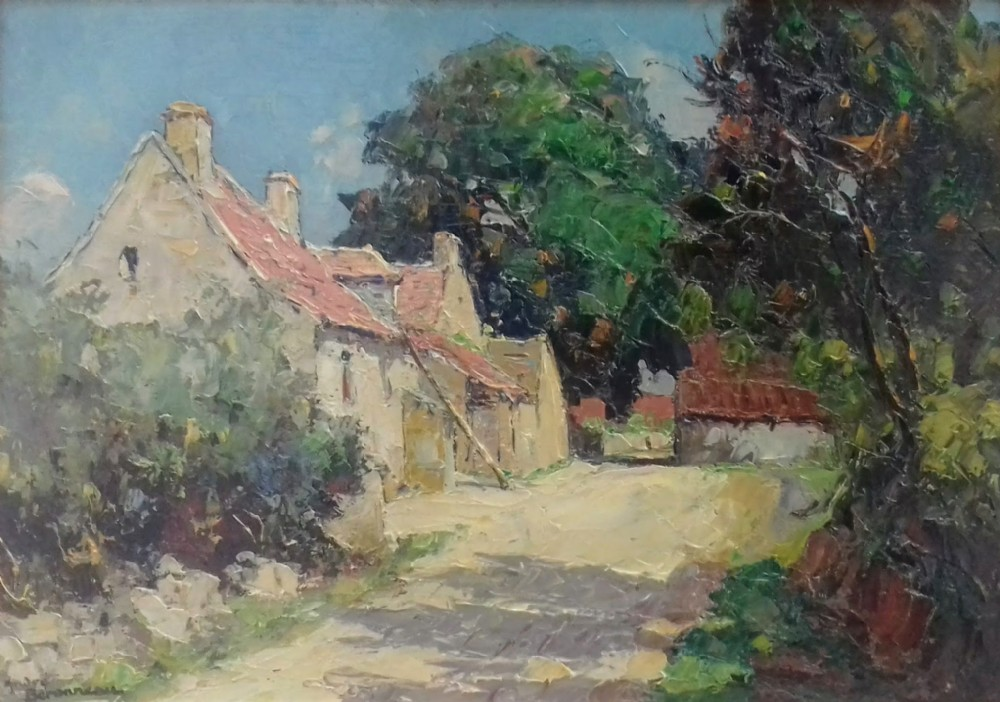 the old french farmhouse near pouligny saint pierre rural landscape by andr beronneau oil on panel