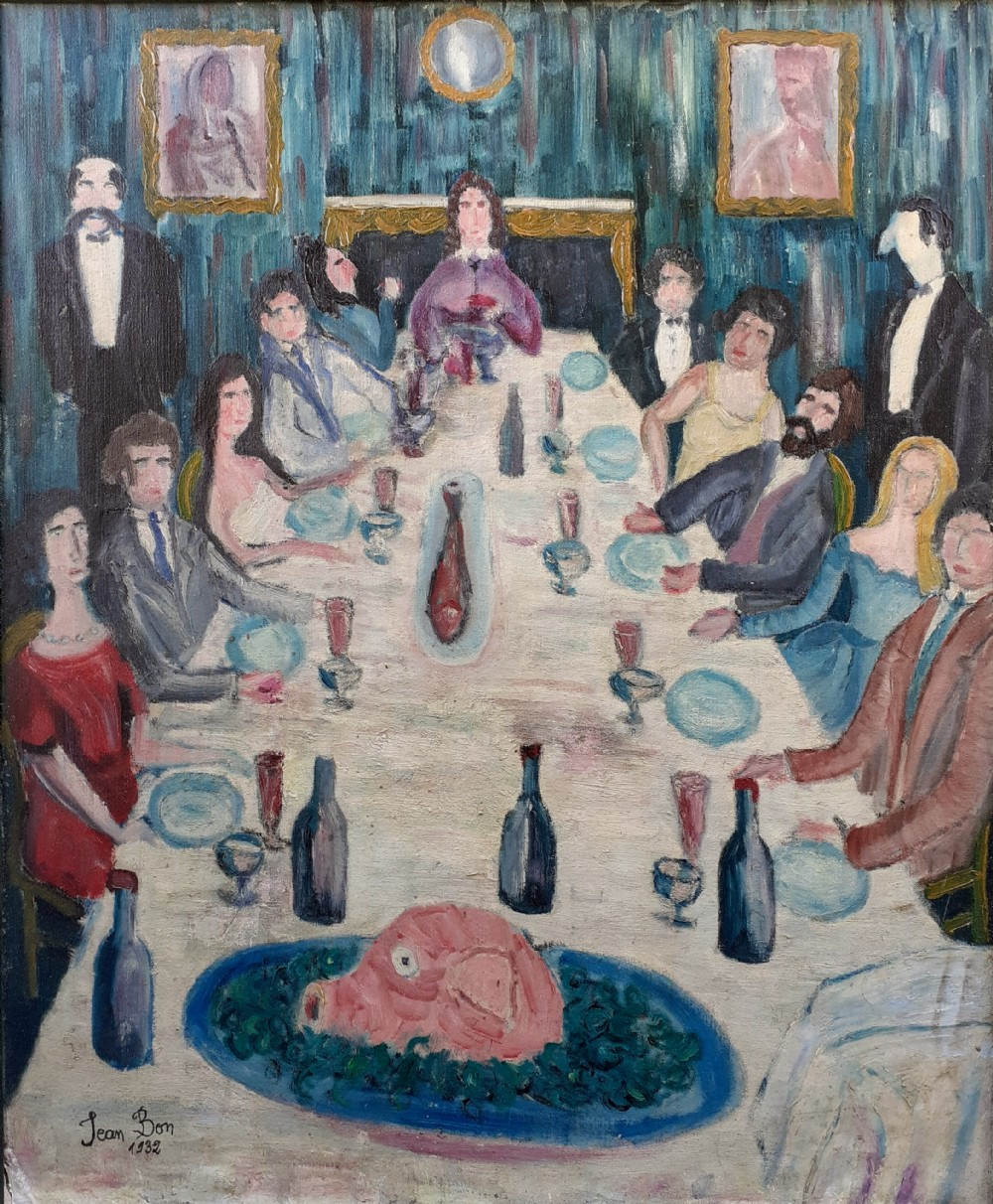 jambon the dinner party 1930s folk outsider art antique french oil on canvas a painting for a chef