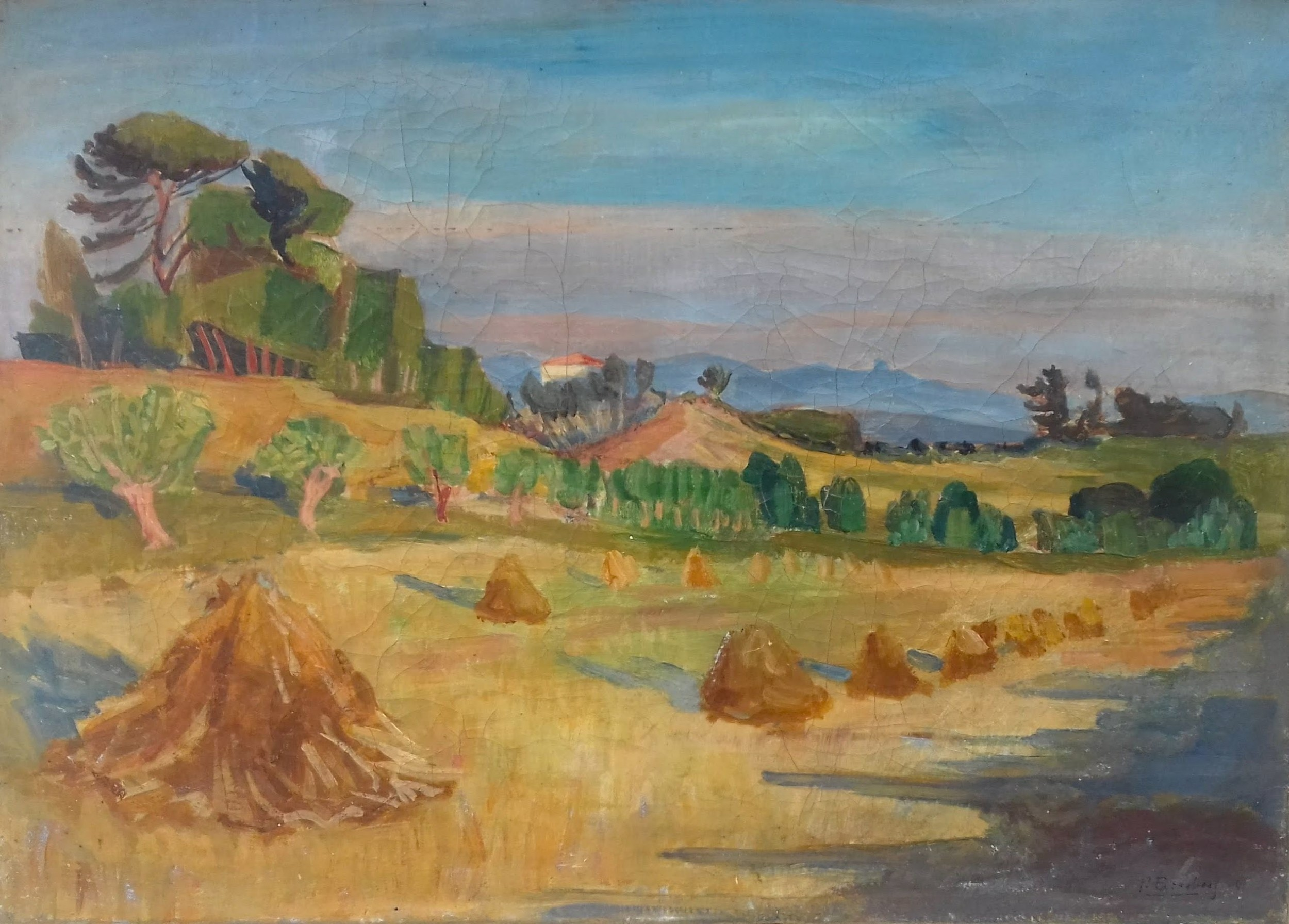 provence landscape aix en provence the south of france by jewish german expressionist oil on canvas
