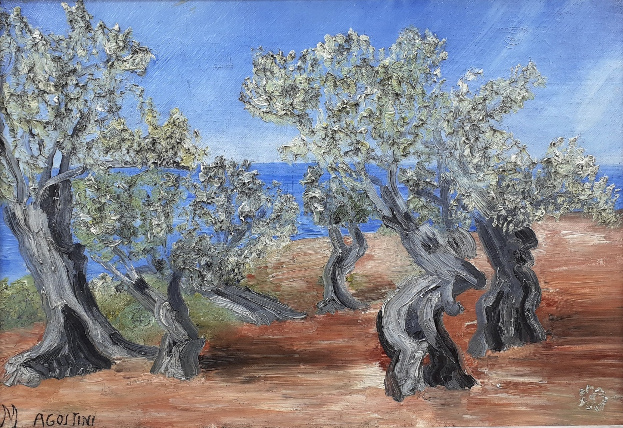 olive trees by the sea in provence the south of france mediterranean landscape antique french oil on canvas