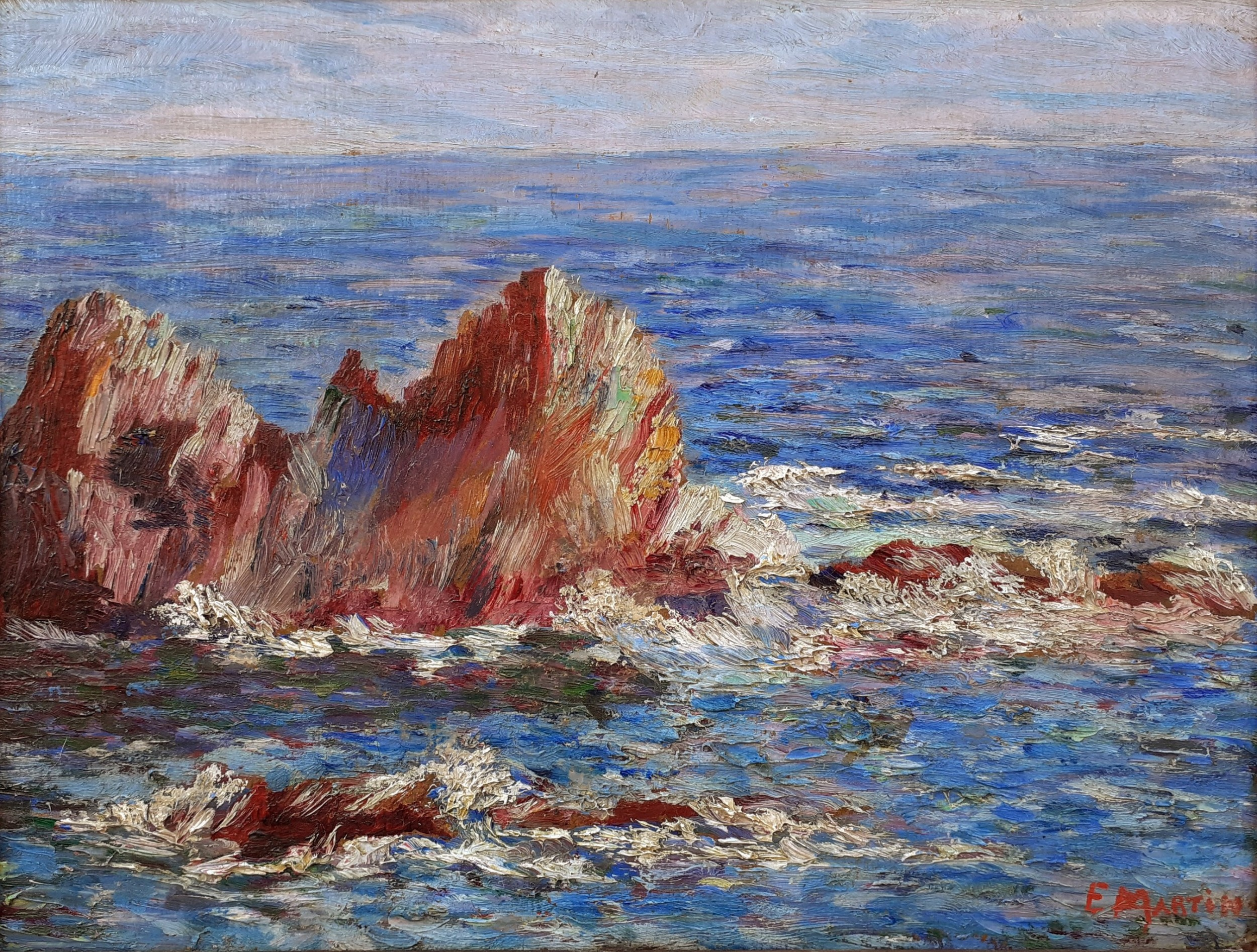 colourist pointillist seascape mediterranean coast the south of france cassis cote d'azur french oil on board