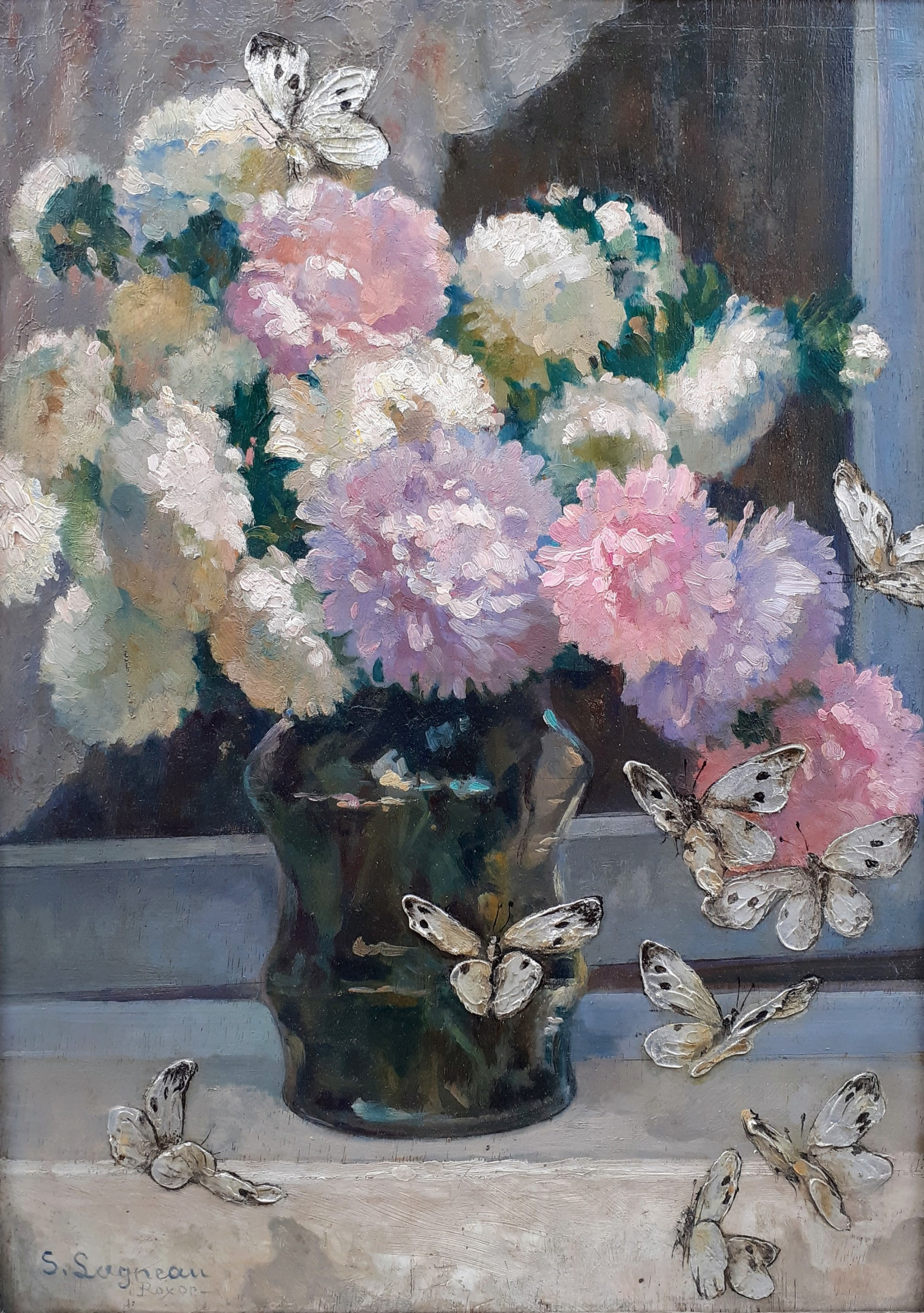the silver butterflies jubilant floral still life french arts and crafts period art deco flowers oil on panel