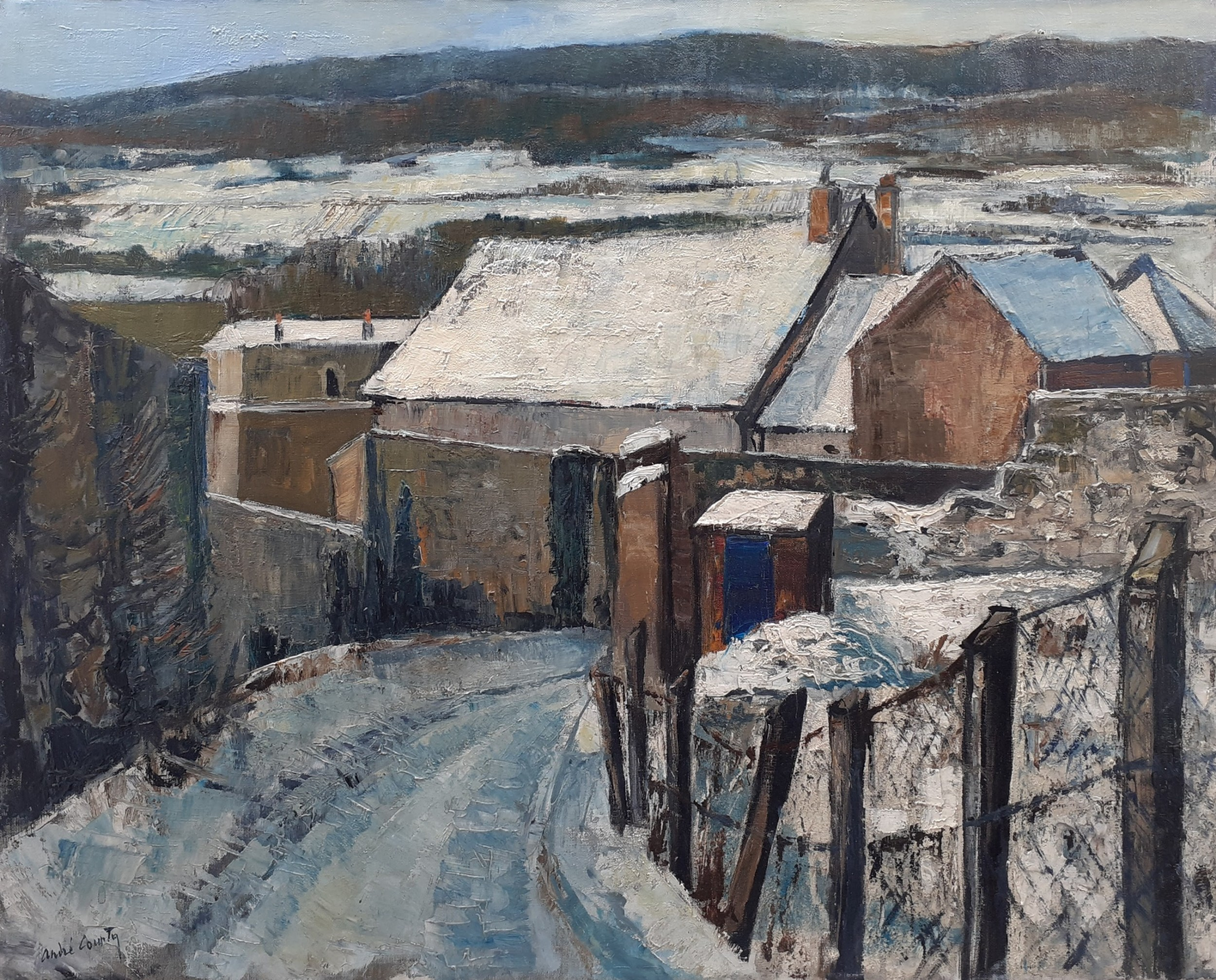 snow large semi abstracted winter scene montlhry landscape 1963 antique french oil on canvas