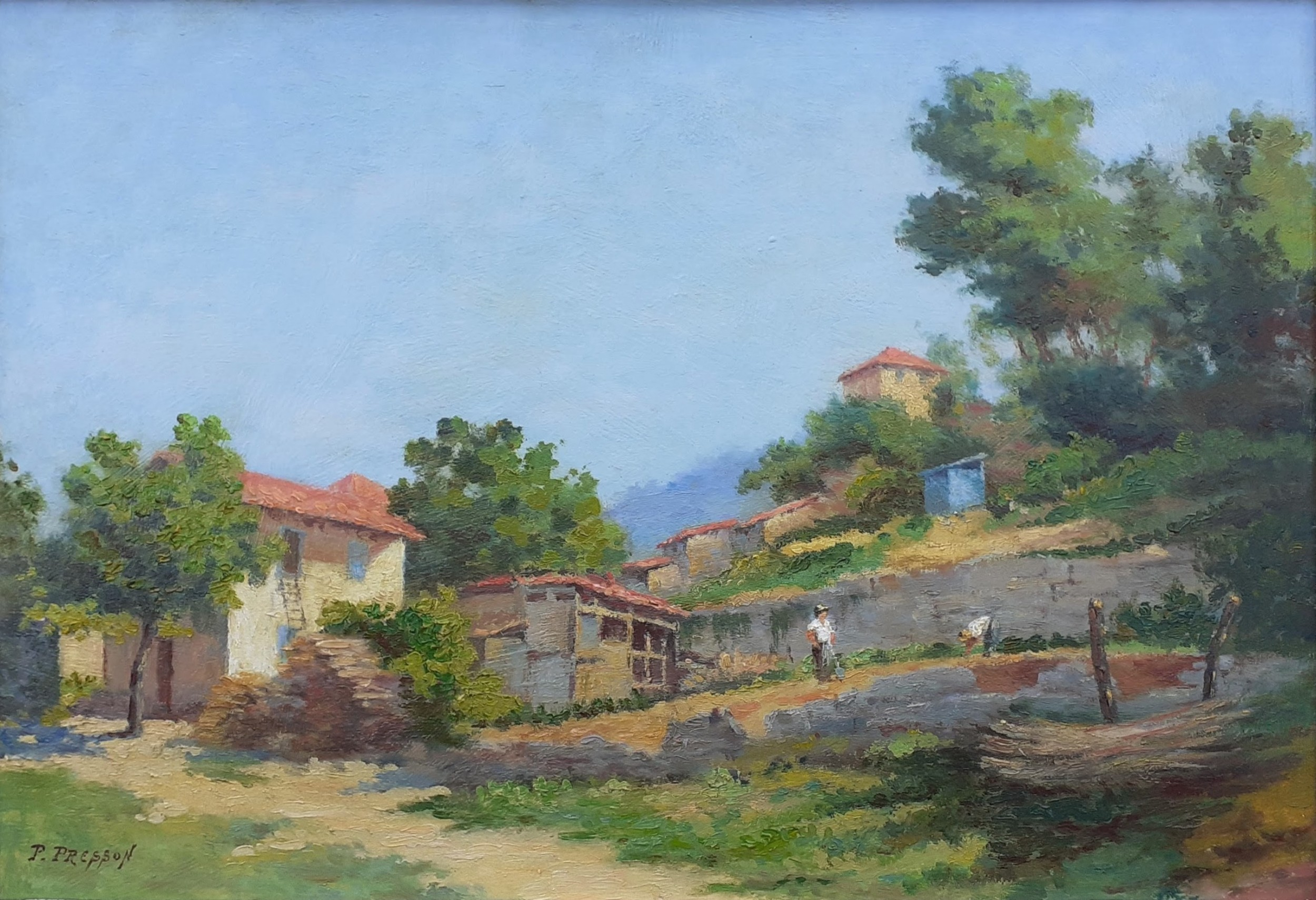 gardening at the provence farmhouse the cote d'azur antique french oil on board