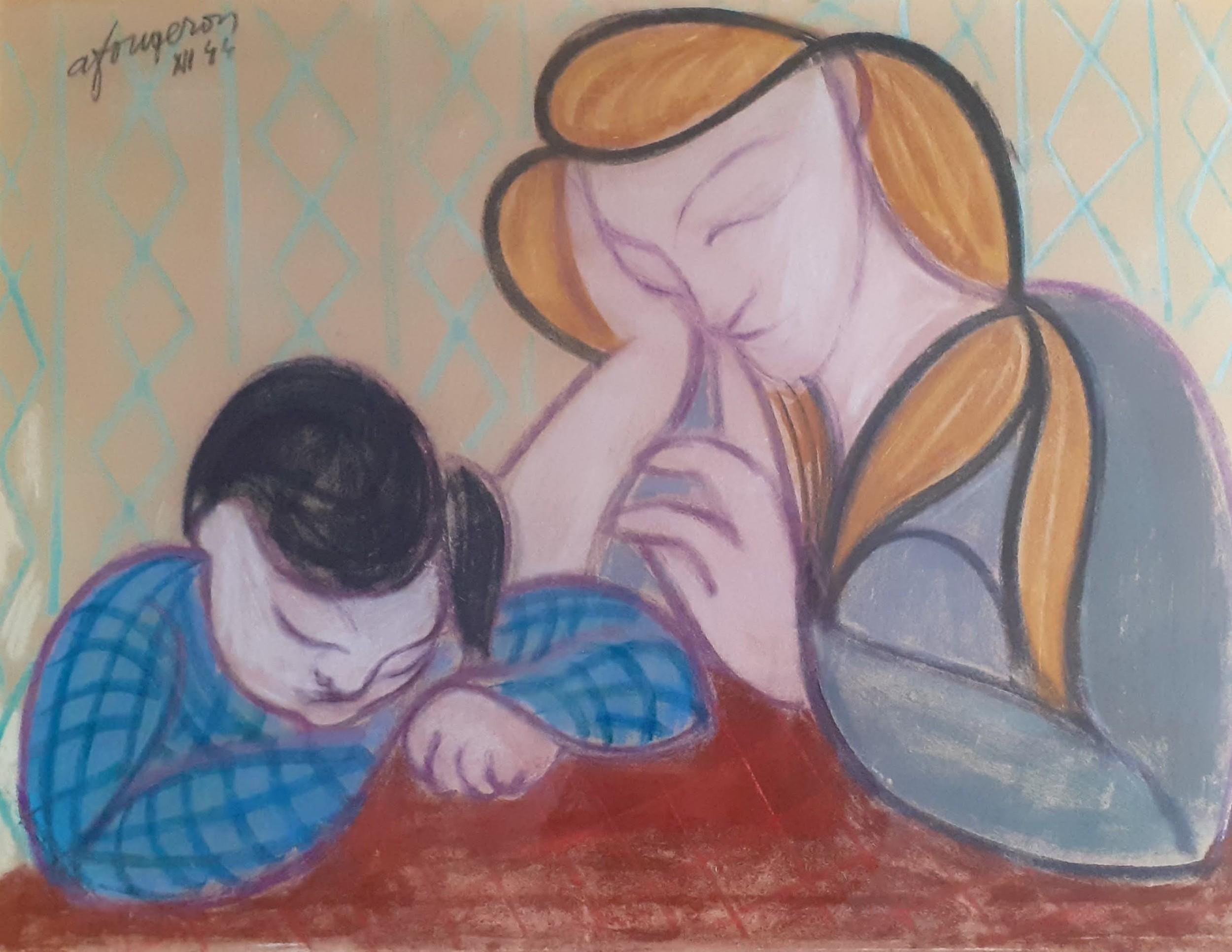 masterpiece cubist pop art precursor tate gallery artist fougeron modernist family scene wartime 1944 pastel painting