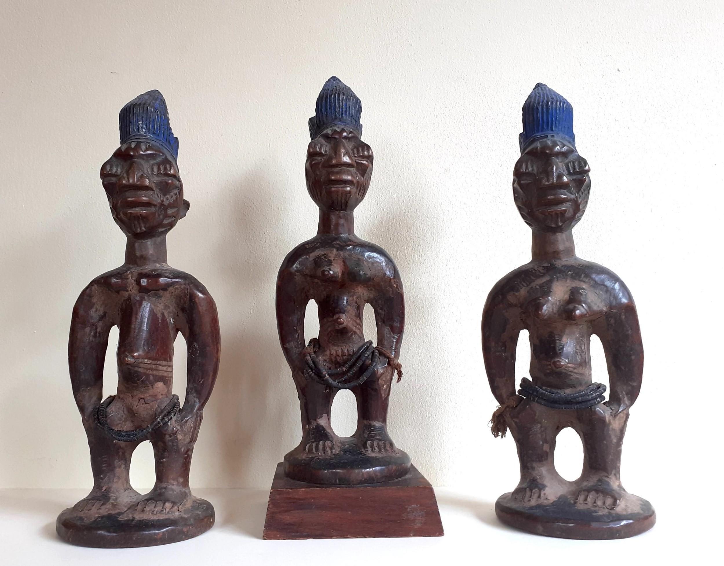 yoruba oyo ibeji triplets master carver abegunde of ede african tribal art prestigious provenance nigeria antique ibedji