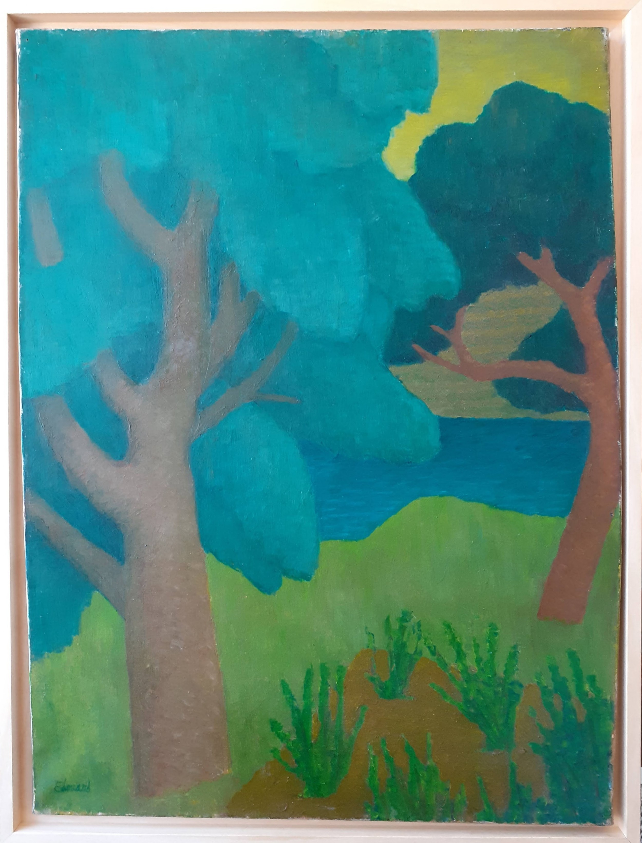 synthesist colourist abstracted landscape french antique oil on canvas