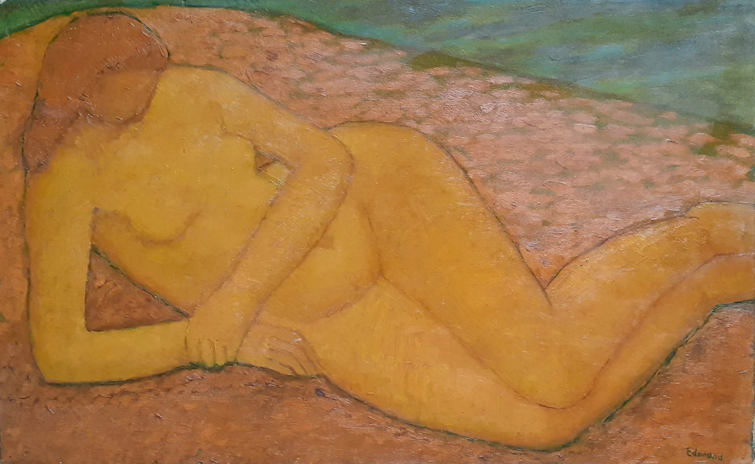 the bather lyrical synthesist colourist nude french antique oil on canvas