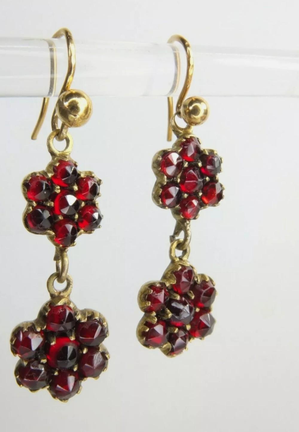 antique victorian 9ct gold garnet earrings