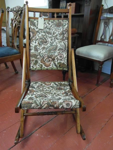 antique victorian folding rocking chair 1