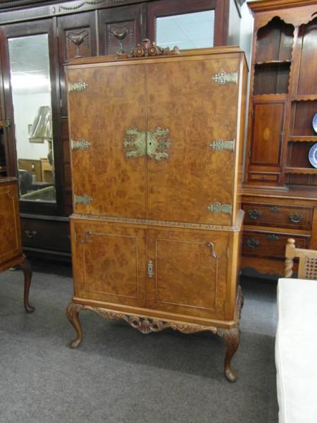 Declaration - Burr Walnut Drinks Cabinet 190381 Sellingantiques.co.uk
