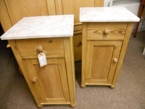 pair of pine pot cupboards bedside cabinets. antique photo - Pair Of Pine Pot Cupboards / Bedside Cabinets 212606