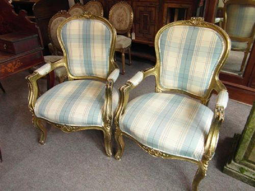pair french antique salon chairs - Pair French Antique Salon Chairs 455762 Sellingantiques.co.uk