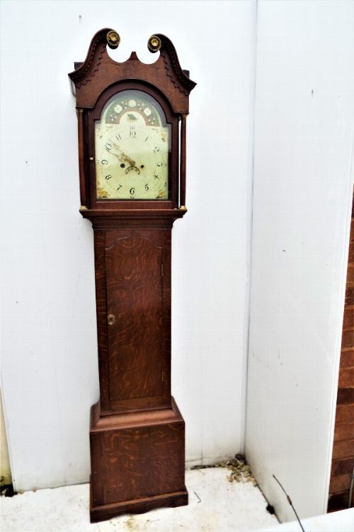 country oak mahogany 8 day georgian grandfather clock