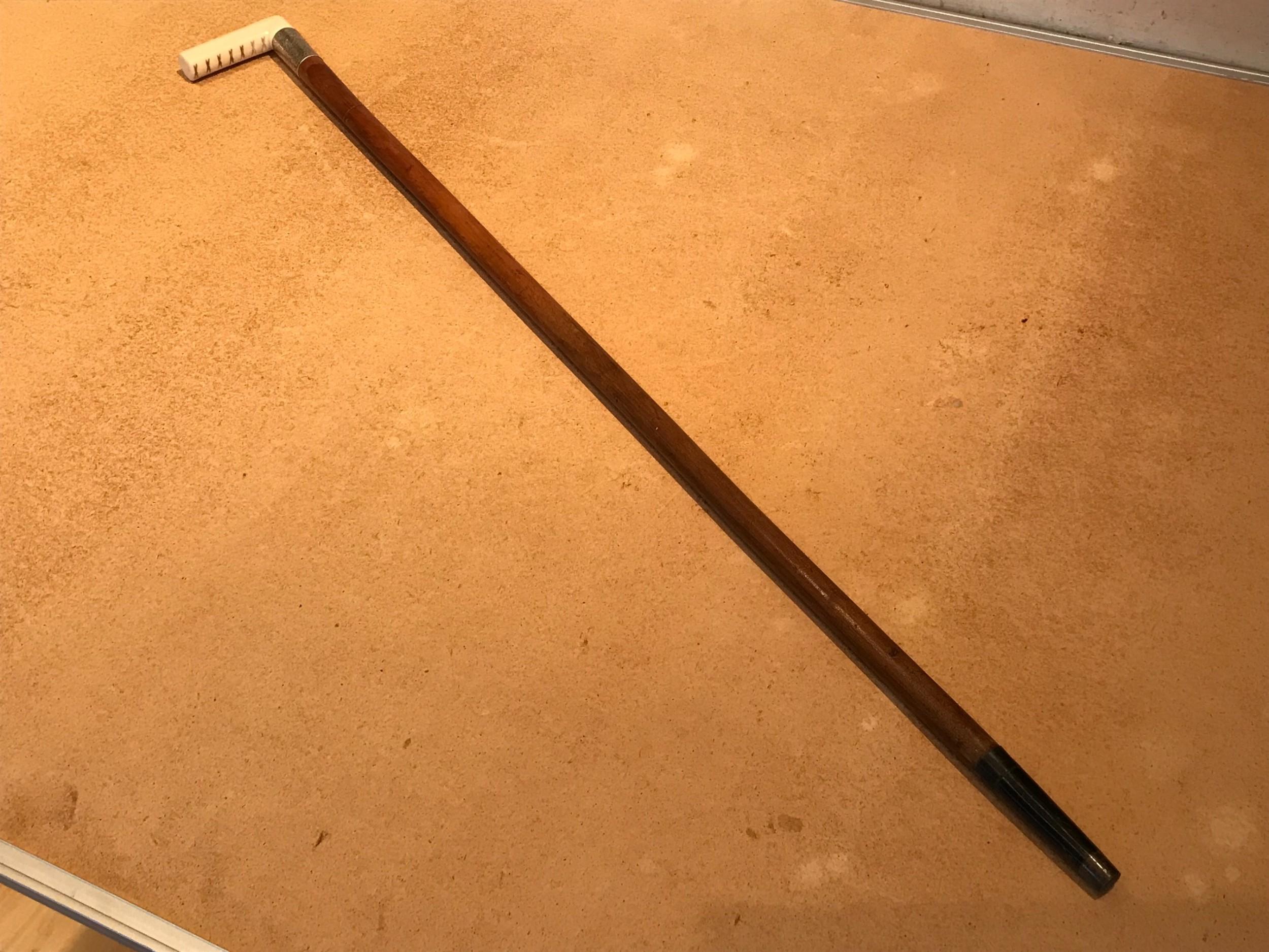 ivory handled silver mount walking sword stick