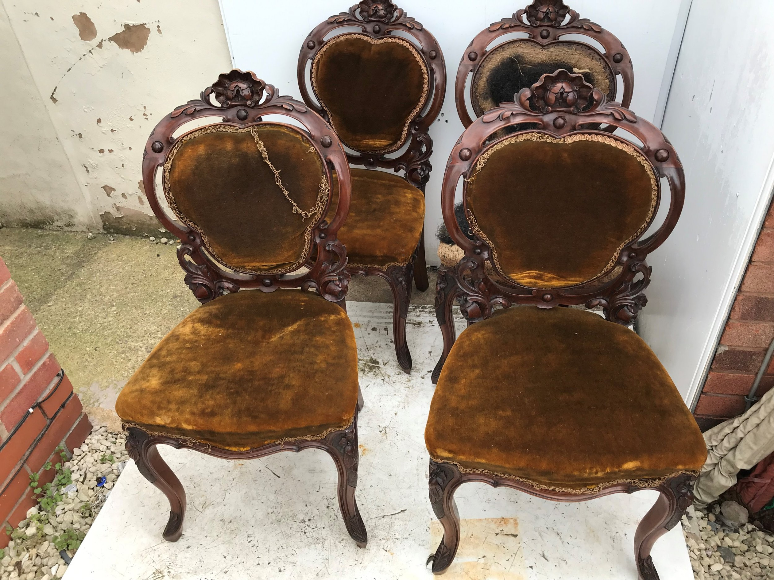 set of four mid victorian saloon chairs
