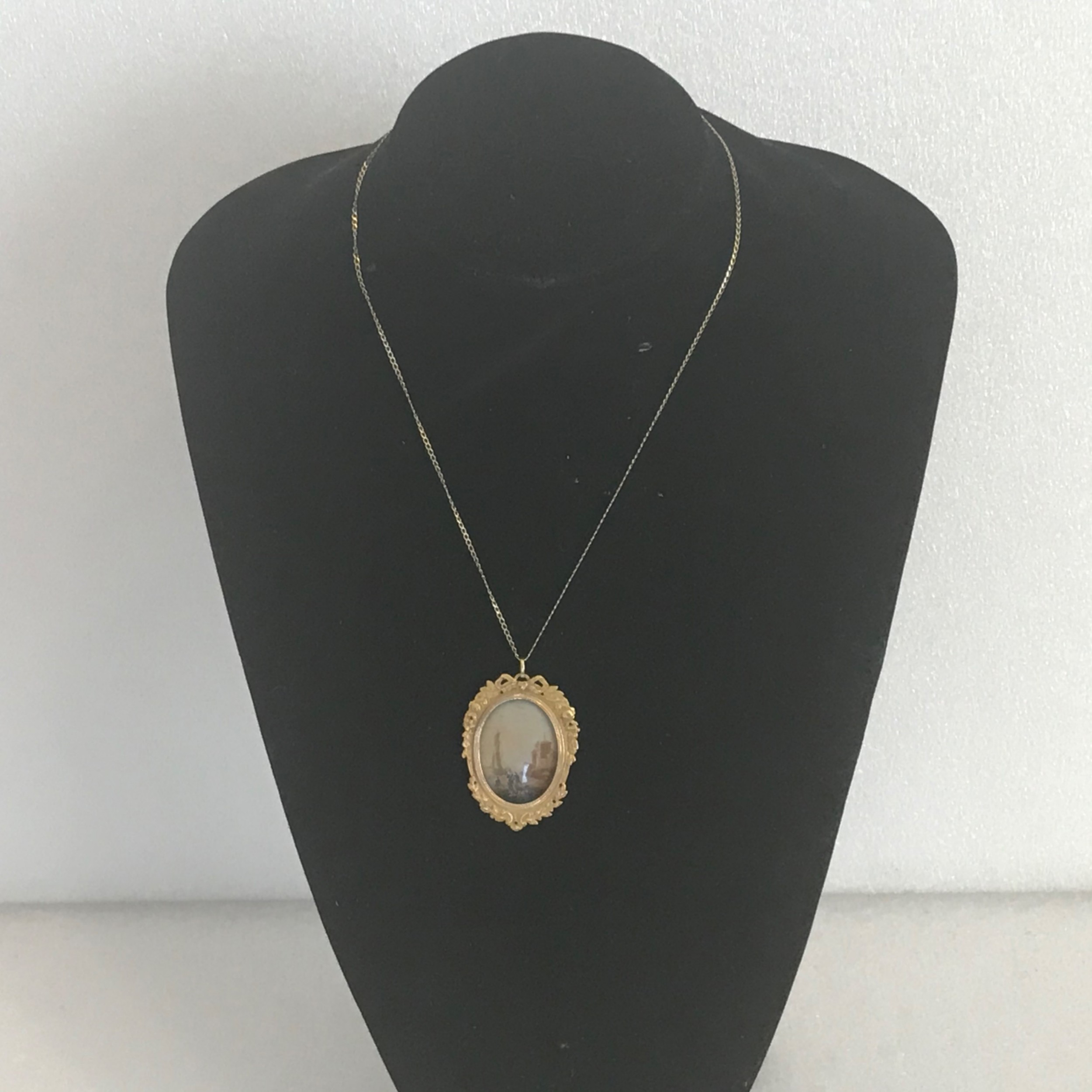 painting miniature georgian gold framed pendant and chain
