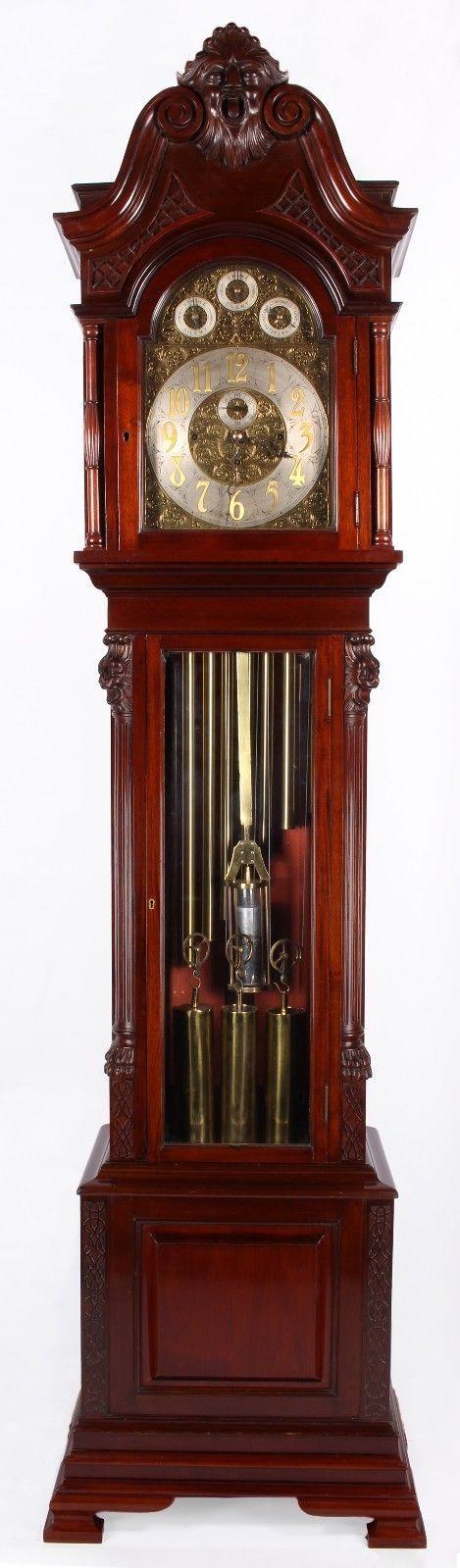 large mahogany tube chiming clock with mercurial pendulum grandfather