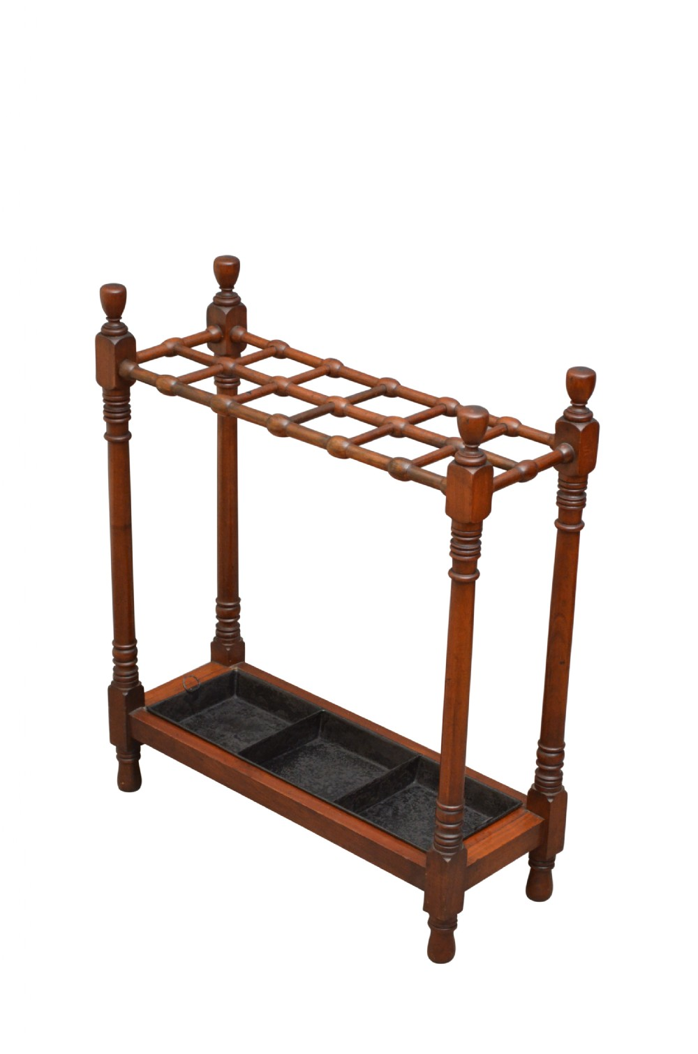 stylish arts and crafts umbrella stand in mahogany