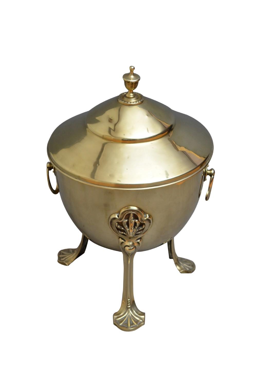 art nouveau brass coal bucket