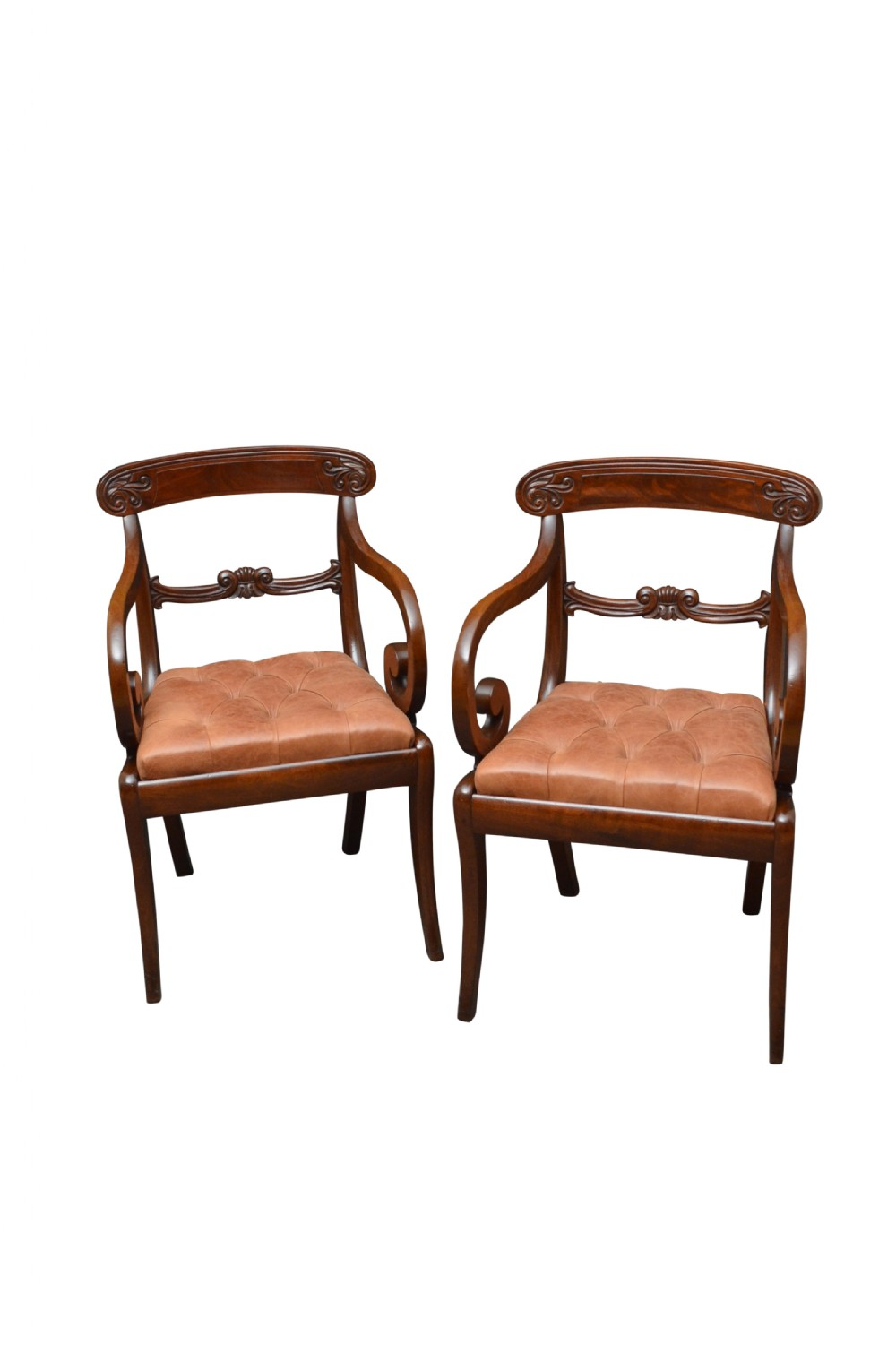 pair of william iv mahogany carver chairs desk chair office chair