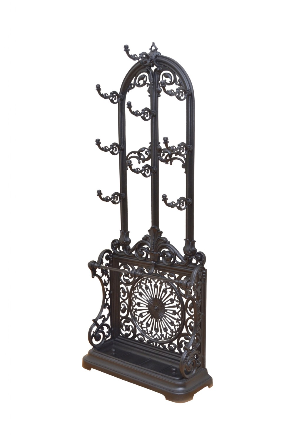 victorian cast iron hall stand in black
