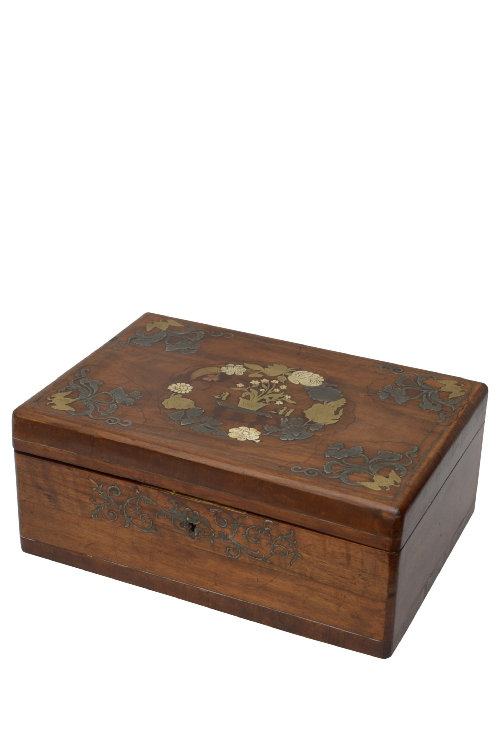 large victorian walnut and inlaid decorative box with a tray