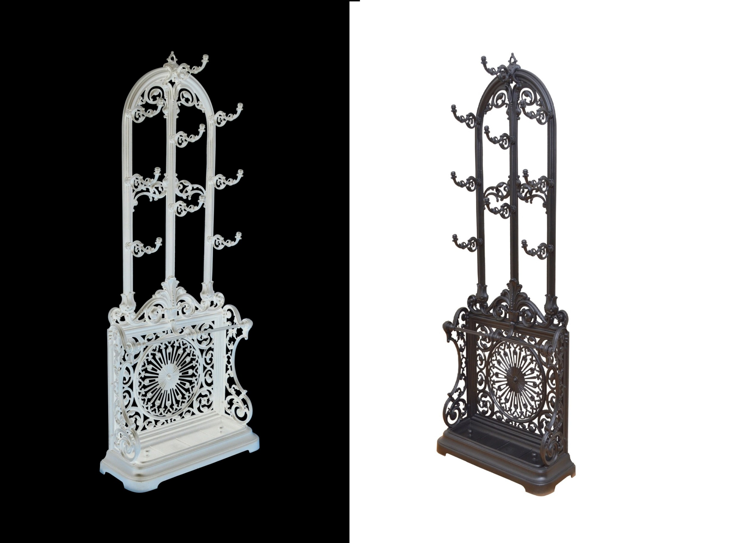 pair of victorian cast iron hall stands
