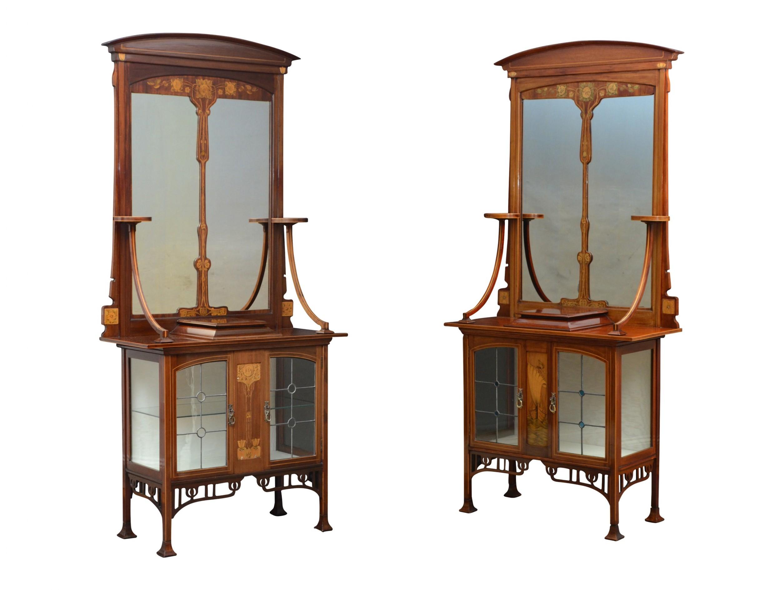 unique pair of art nouveau cabinets
