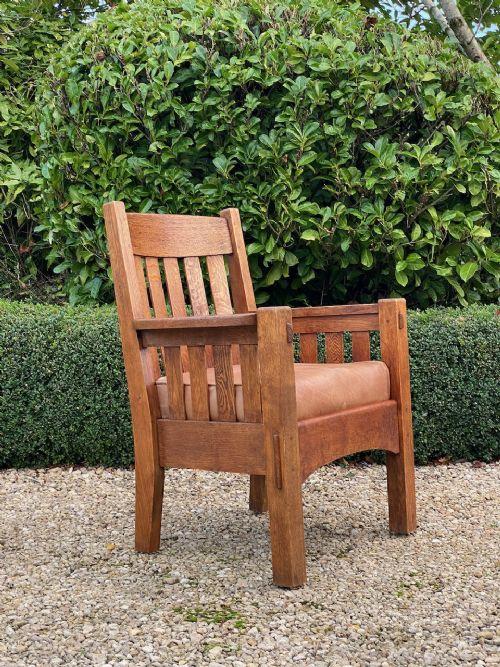 gustav stickley arts crafts oak armchair by harden american mission circa 1905