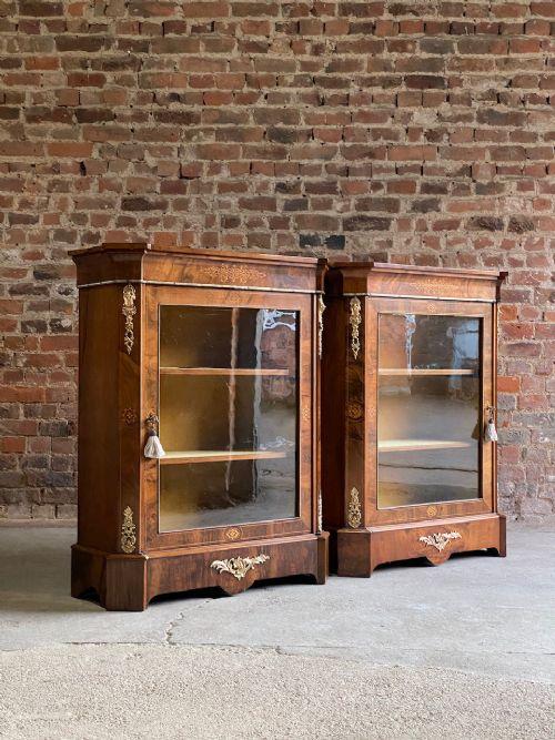 antique pair of walnut pier cabinets victorian circa 1880