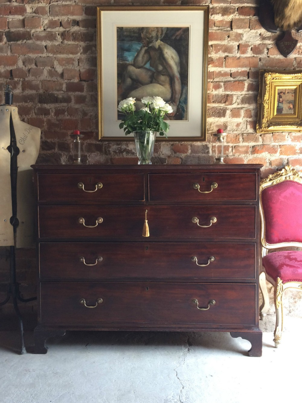 antique chest of drawers dresser victorian mahogany 19th cen