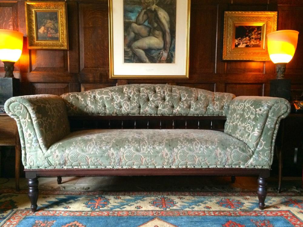 Antique Sofa Settee Club Style Victorian Green Velvet 19th