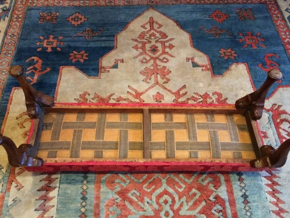 Ottomans Ornate Mahogany Ottoman: Antique Footstool Ottoman Mahogany Edwardian Fireside Seat