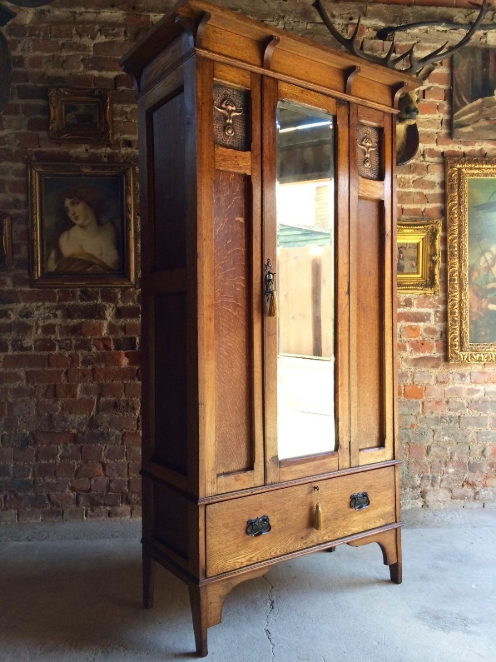 Antique Single Wardrobe Arts Amp Crafts Copper Edwardian