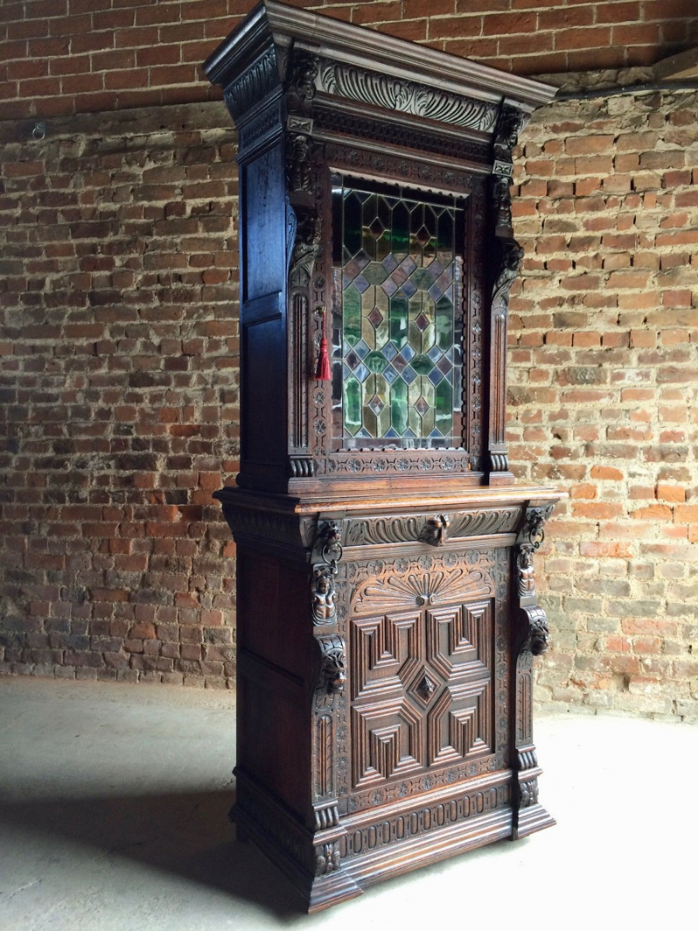 Beautiful Antique Century Furniture Dining Room Table And: Beautiful Antique French Heavily Carved Cabinet Oak 19th