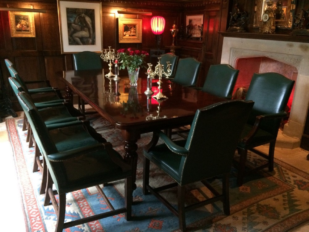 Antique Dining Table Ten Leather Dining Chairs Mahogany Extending Victorian 1850 513386 Sellingantiques Co Uk