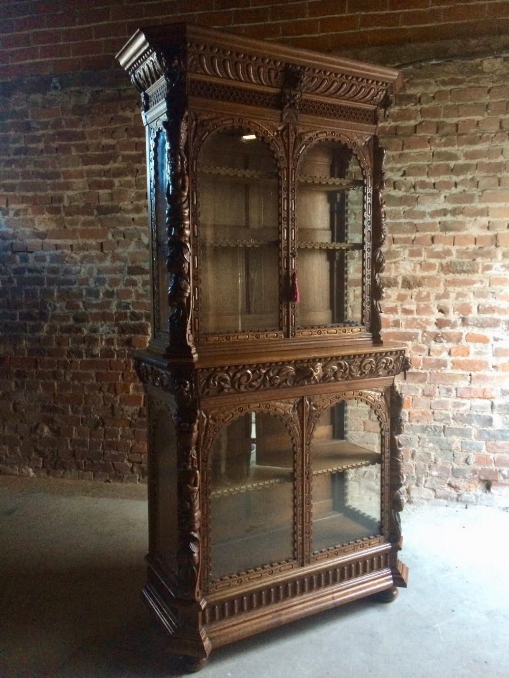 french oak display cabinet carved victorian gothic antique 19th century - French Oak Display Cabinet Carved Victorian Gothic Antique 19th