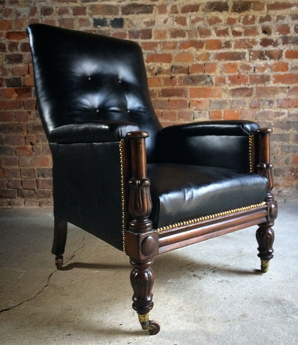 antique library chair leather mahogany william iv 1830