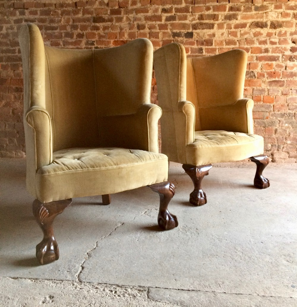 antique barrel back armchairs porters chairs pair george ii style 1860
